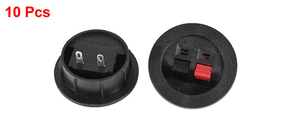 Push In Type Two-way 2 Terminals Round Speaker Cup Black Red 10pcs
