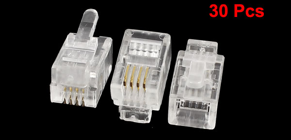 30 Pcs Clear Plastic 4P4C RJ9 Plug Connectors Adapters for Telephone