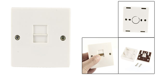 Telephone BT RJ11 6P6C Female Socket Square Wall Plate Box 6.8cmx6.8cm White