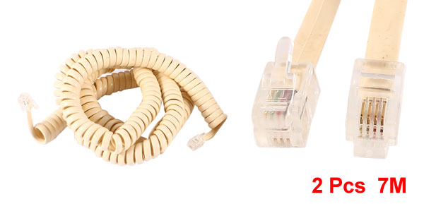 2 Pcs RJ9 4P4C Plug Coiled Stretchy Telephone Handsets Cable Beige 7M