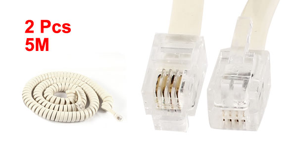 2 Pcs RJ9 4P4C Plug Coiled Stretchy Telephone Handset Cable Beige 5M