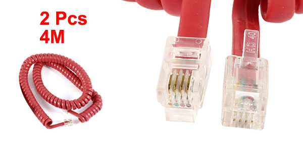 2 Pcs Red RJ9 4P4C Connector Stretchy Coiled Telephone Phone Cable 4M