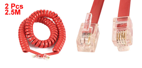 2pcs RJ9 4P4C Plug Stretchy Coiled Telephone Phone Handset Line Cable Red 2.5m 8.2ft