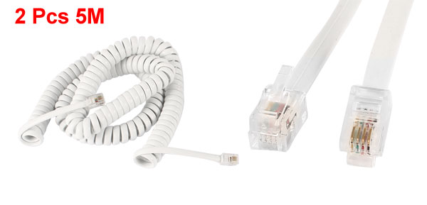 2 Pcs RJ9 4P4C Coiled Stretchy Telephone Handsets Cable White 5M