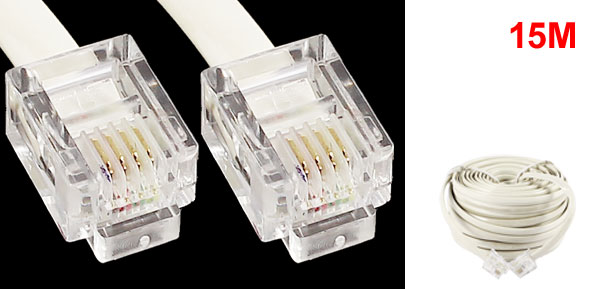 15M 49ft RJ11 6P4C Telephone Extension Cable Connector Off White