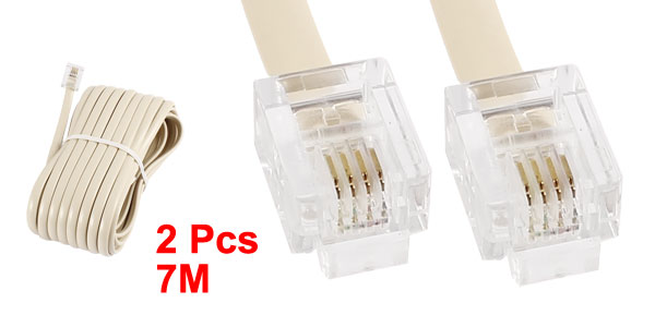 2pcs 7M 23ft Telephone Phone Extension Cord Cable Beige 6P4C RJ11 Modular Plug