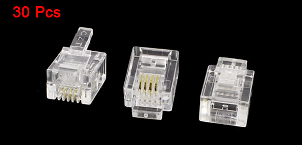 30pcs Clear Plastic RJ11 6P4C Modular Connector for Telephone Phone