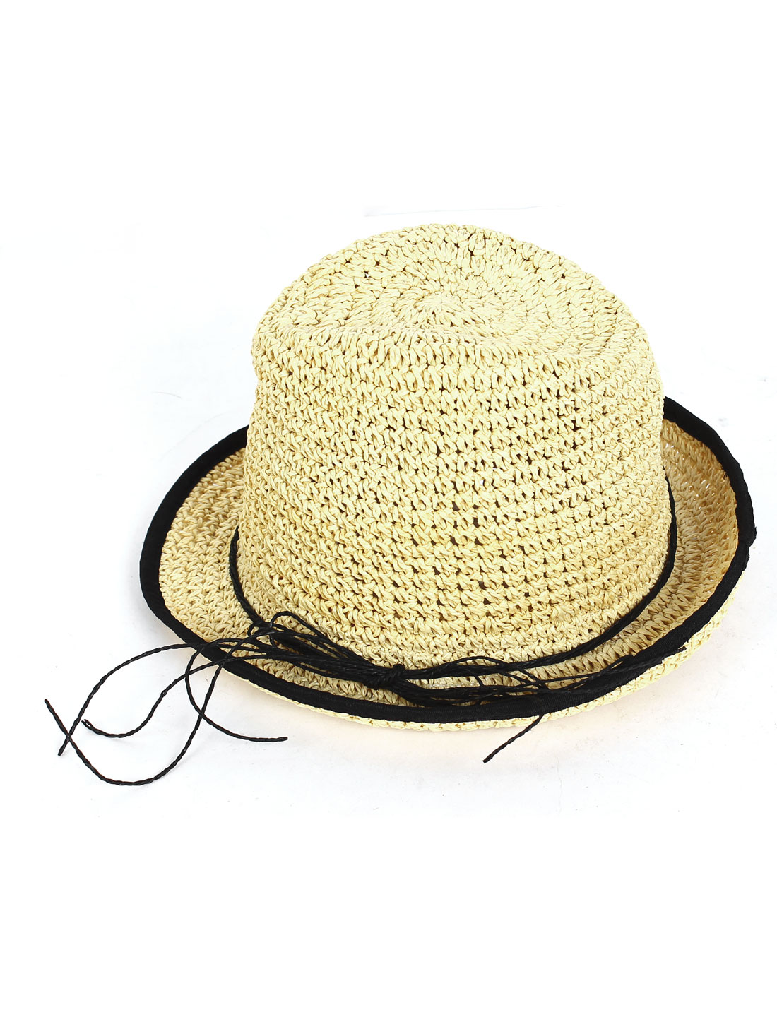 Nylon Rope Bowknot Accent Sun Visor Stroll Hat Travel Straw Chapeau for Lady
