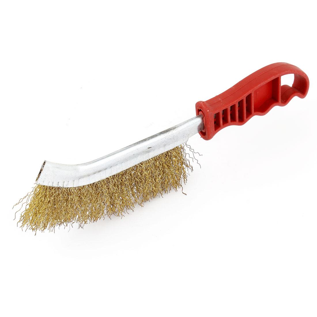 Nonslip-Handle-Grinding-Polishing-Crimped-Brass-Wire-Brush-25cm-Length