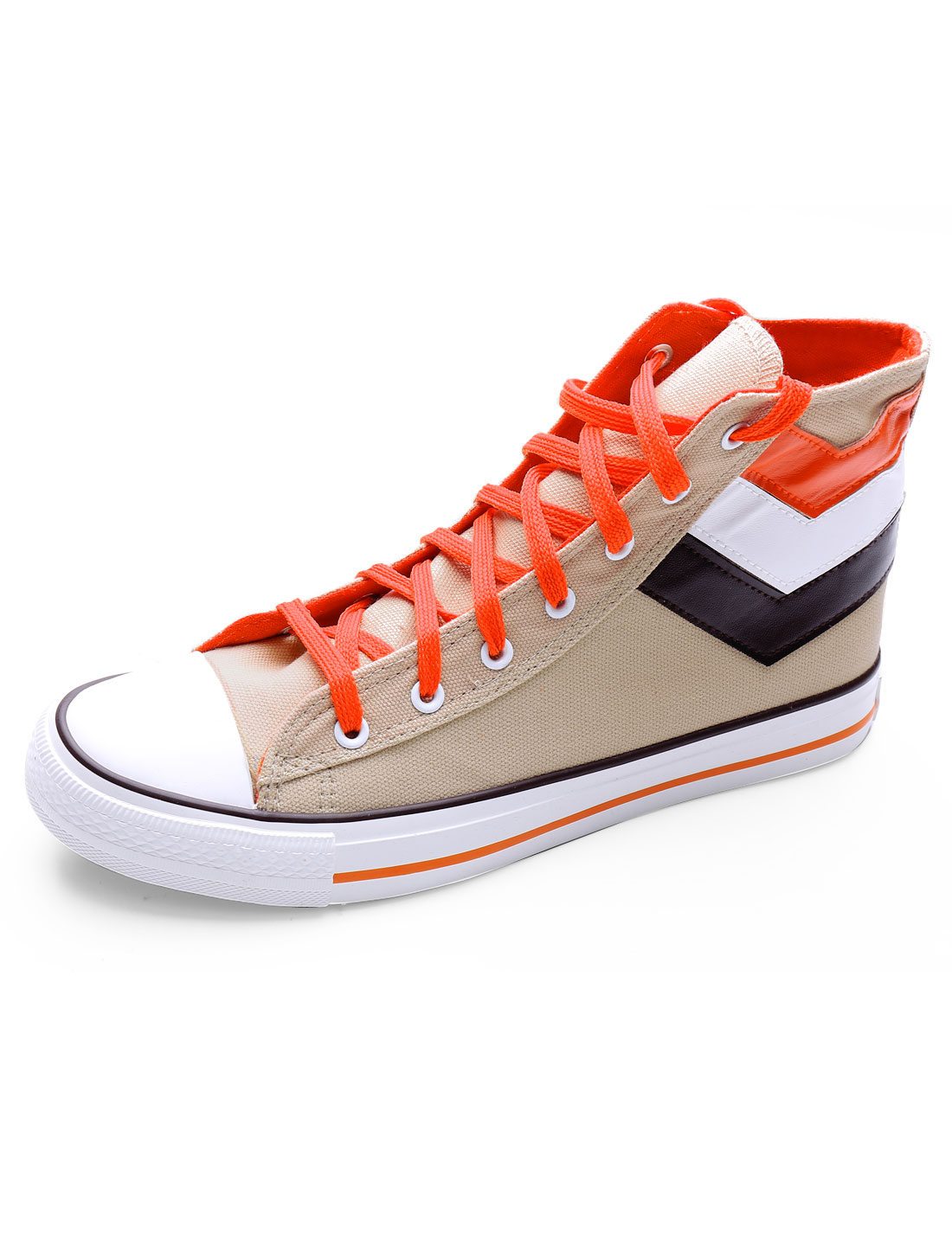 Men High Cut Round Toe Lace Up Color Block Canvas Shoes