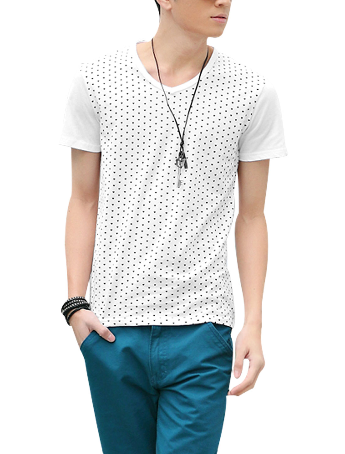 Men Pullover V Neck Short Sleeve Hearts Prints T-Shirt