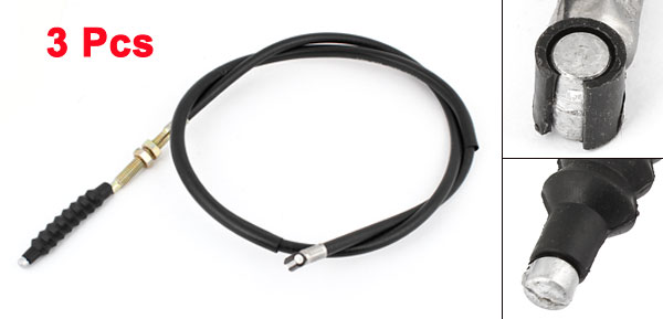 3 Pcs 105cm Length Black Rubber Motorcycle Motorbike Clutch Wire Cable Line