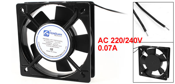 AC 220/240V 0.07A 110mmx110mmx25mm 2-Wire Cooling Fan Black for PC Case Cooler