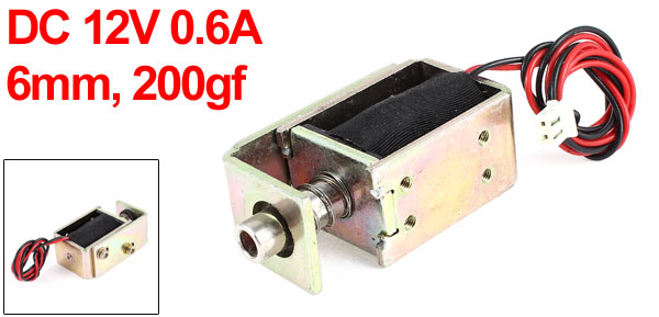 DC 12V 0.6A 6mm 200gf Pull Type Open Frame Linear Motion Solenoid Electromagnet Actuator
