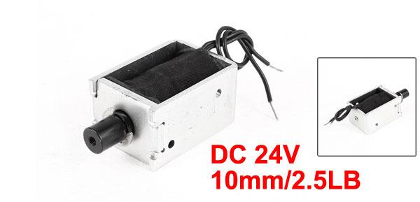 DC 24V 1.84A 10mm Stroke 2.5LB 1.1Kg Pull Type Open Frame Eletric Actuator Solenoid Electromagnet
