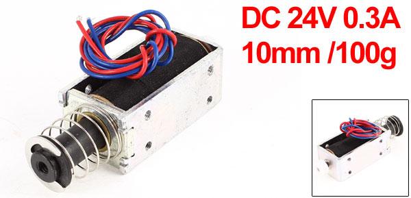 DC 24V 0.3A 20mm Stroke 3.5LB 1.6Kg Force Push Pull Type Tubular Solenoid Electromagnet