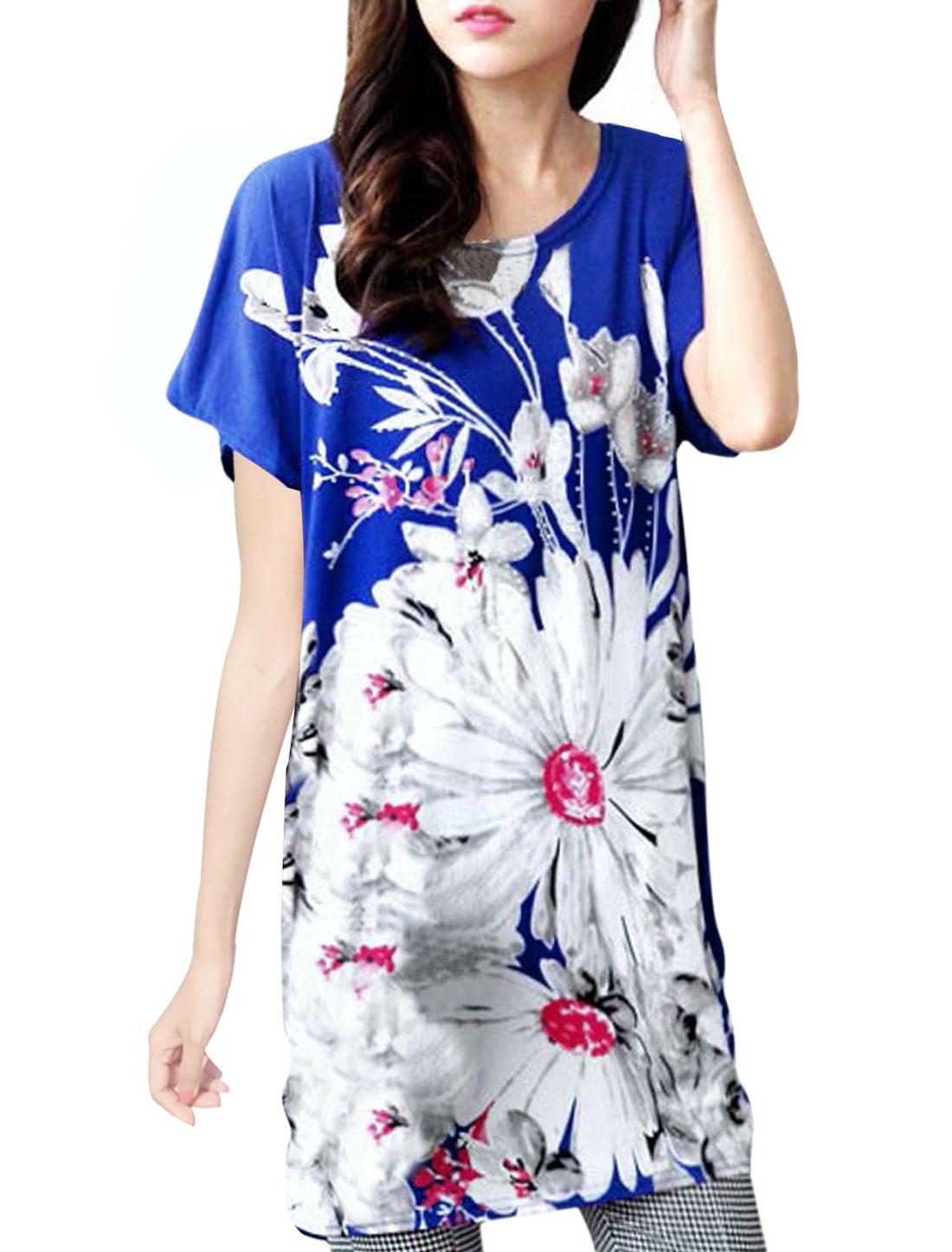 Women Flower Pattern Batwing Design Loose Fit Tunic Top
