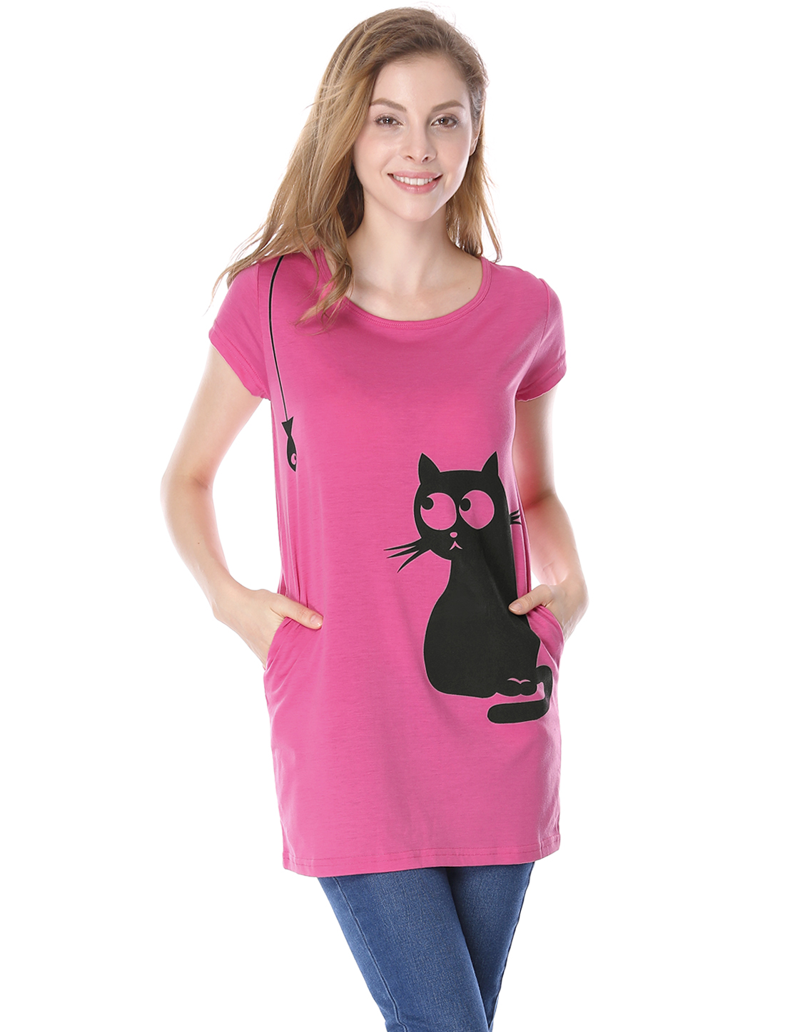 Lady Round Neck Short Sleeve Cat Prints Loose Tunic Top