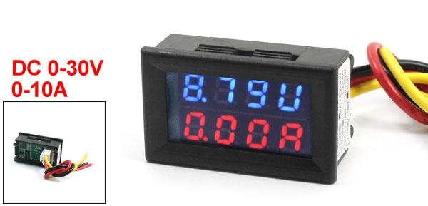 DC 0-30V 0-10A Blue Red Dual LED Digital Volt Voltmeter Ammeter AMP Gauge