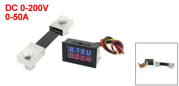 DC 0-200V 0-50A Red Blue Dual LED Digital Voltmeter Ammeter Voltage + 100A 75mV Shunt