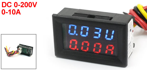 DC 0-200V 0-10A Blue Red Dual LED Digital Volt Voltmeter Ammeter Gauge