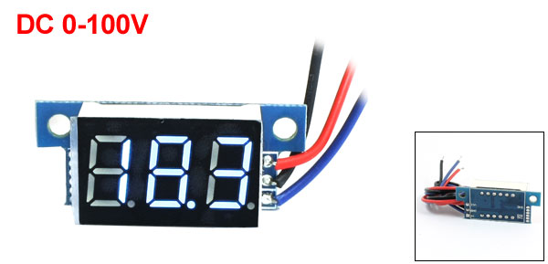 Digital DC 0-100V LED Display Blue Digit Voltage Tester Gauge Panel Voltmeter