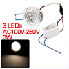 Warm White 3-LED Light Recessed Cabinet Ceiling Spot Lamp Bulb 100-110LM 3W