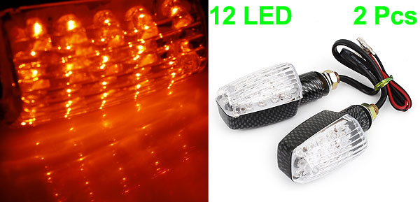 Pair 12 Red LED Universal Turning Signal Light Indicator Lamps 12V for Motorcycle internal