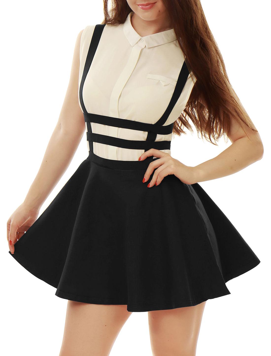 Woman Faux Pearl Decor Elastic Waist Zip Back Suspender Skirt