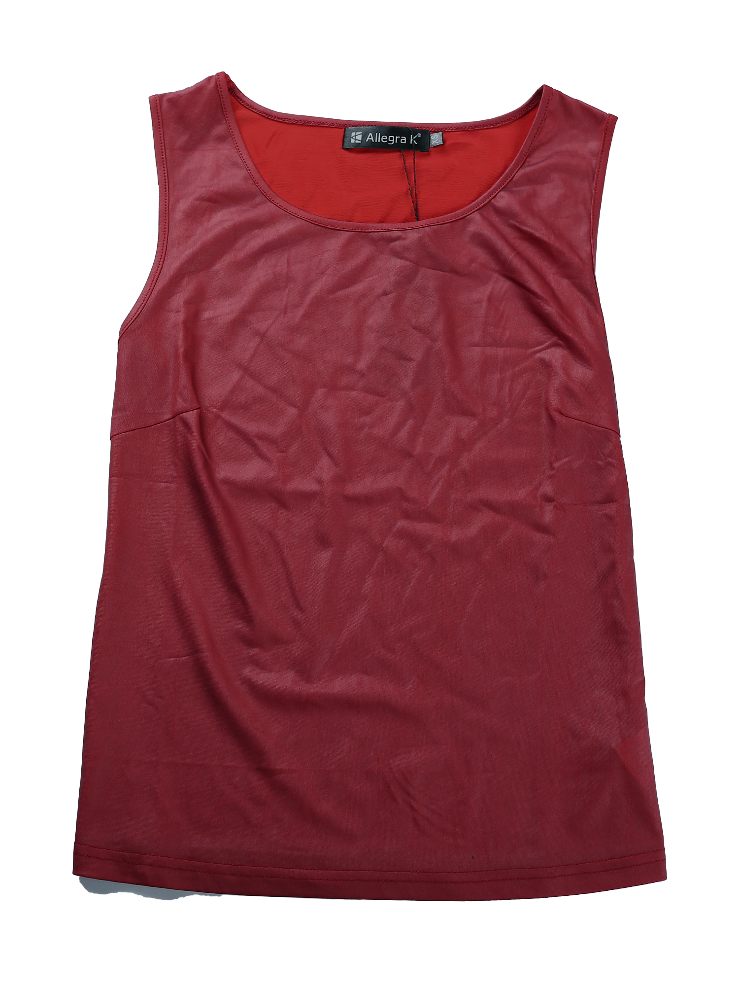 Woman U Neck Sleeveless Stretch Shiny Design Tank Top