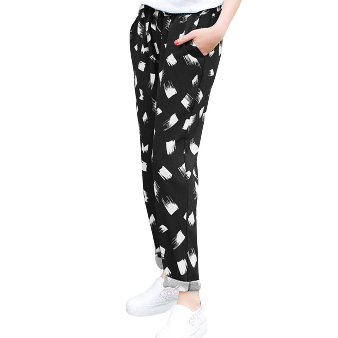 Lady Drawstring Waist Novelty Prints Cropped Pants