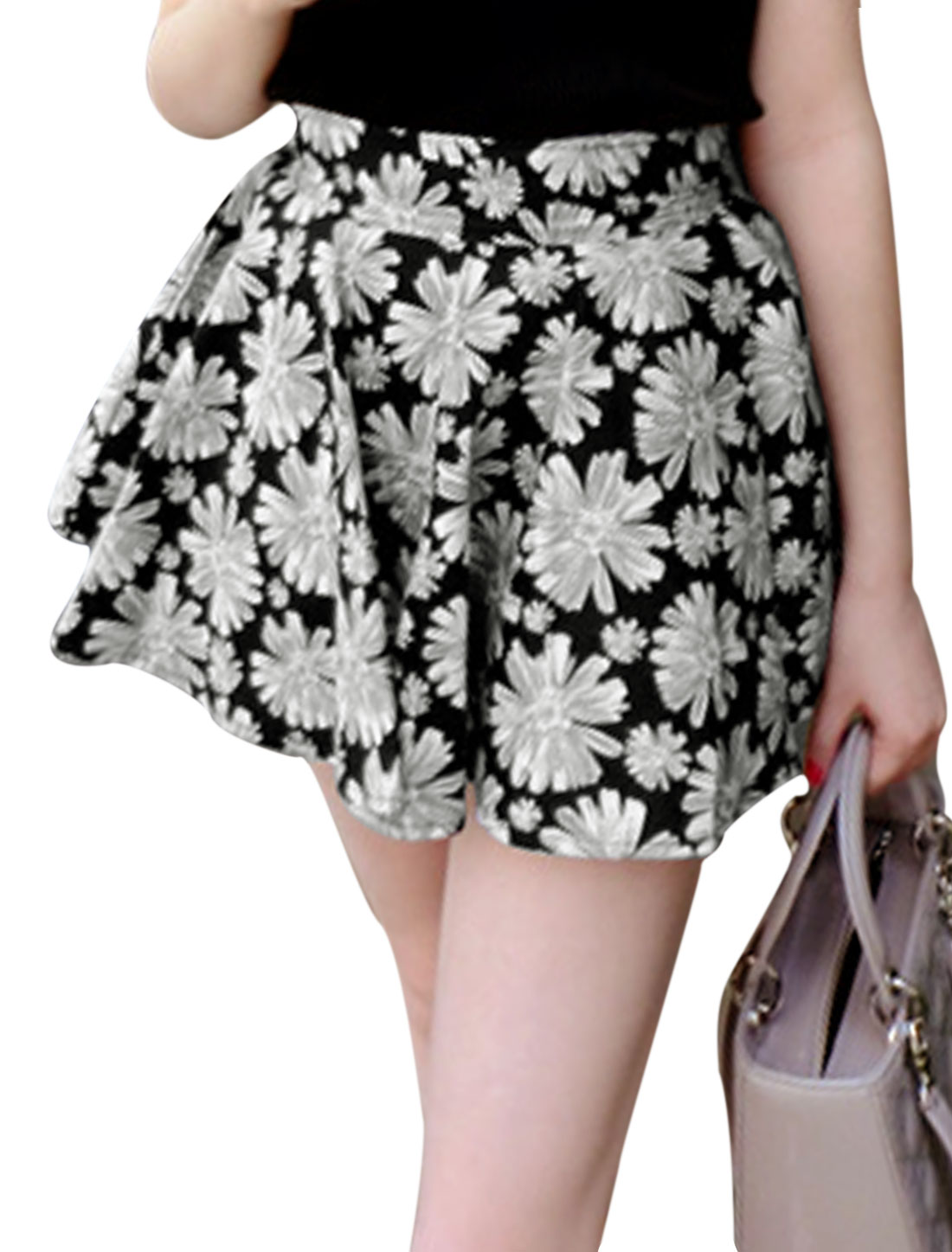 Women Zipper Back A-Line Floral Prints Casual Skort