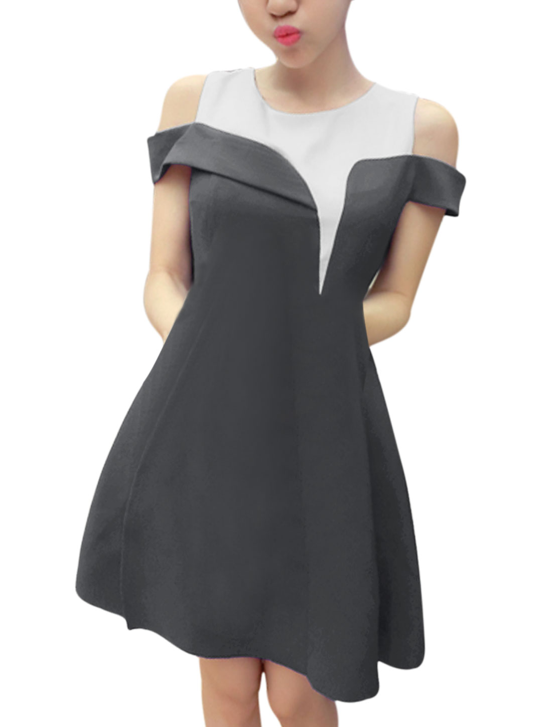Ladies Cut Out Shoulder Side Split Splicing Elegant Dress