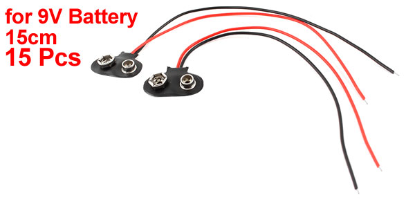 15Pcs 15cm Wire Cable 9V 9 Volt Battery Clip Connector Lead I Type