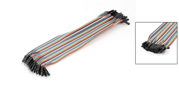 20cm Length Double Head 40pin 40P-40P F/M Connector Jumper Cable Wire Multicolor