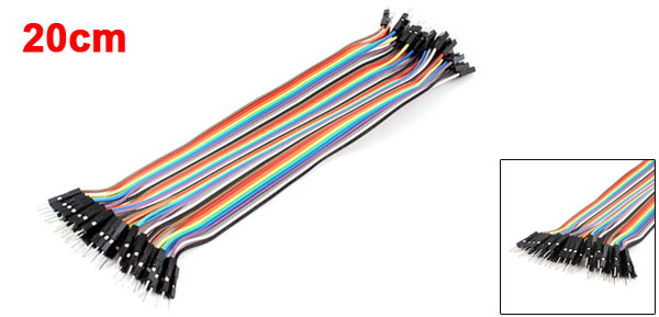 20cm Length Double Head 40pin 40P-40P M/M Connector Jumper Cable Wire Multicolor
