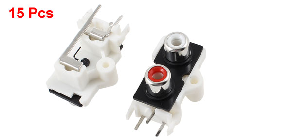 15 Pcs PCB Mount 2 RCA Female Outlet Jack Audio Video AV Connector Socket
