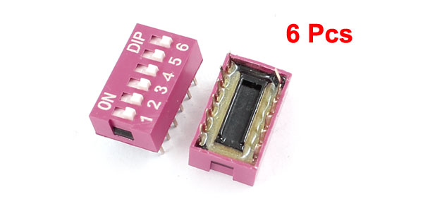 6pcs DIP Piano Key PCB Mounted Dual Row 6 Positions Sliding Switches 2.54mm Pitch
