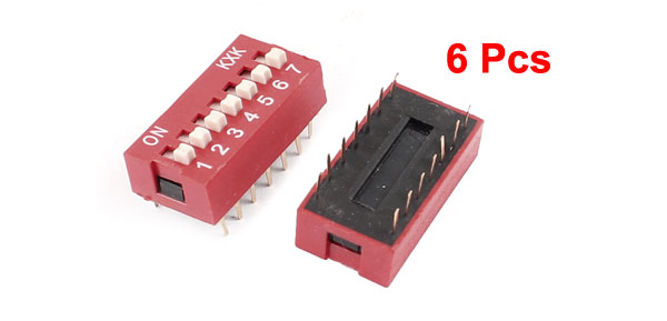 Slide Type Dual Row 14pin Terminals 7 Positions Way DIP Key Switch 6 Pcs