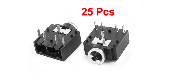 25 Pcs 5 Pin Panel Mount 3.5mm Female Earphone Audio Jack Socket Connector