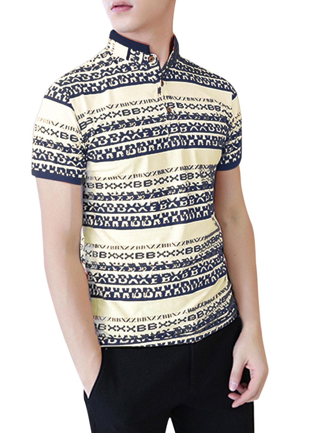 Men-NEW-Rib-Knit-Detail-3-4-Placket-Stylish-Polo-Shirt