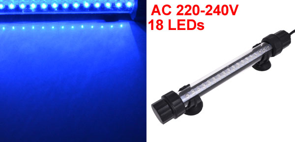 UK Plug AC 220-240V Suction Cup Blue 18 LEDs 18cm Fish Tank Submersible Lamp