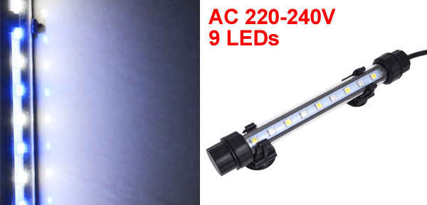 UK Plug AC 220-240V Suction Cup Mounted Blue White 18cm Bar 9 LEDs Aquarium Submersible Lamp
