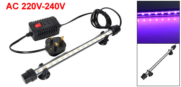 UK Plug AC 220V-240V 15x0.5W Pink Light LED Fish Tank Underwater Submersible Lamp
