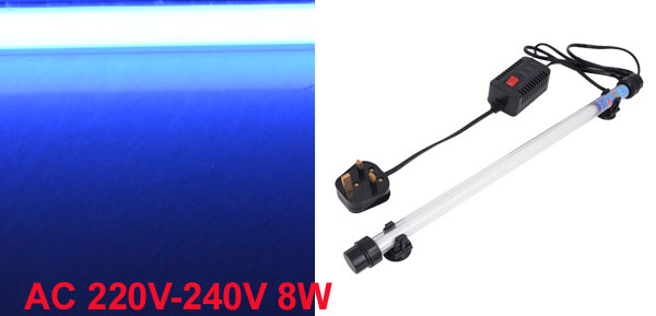 Suction Cup Blue Light Aquarium Submersible Underwater Lamp 8W UK Plug AC 220V-240V