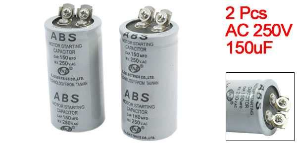 2Pcs AC 250V 150MFD 150uF 2 Screw Terminals Motor Start Capacitor