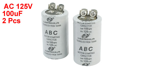 2Pcs AC125V 100MFD 100uF 2 Screw Terminals Motor Start Capacitor