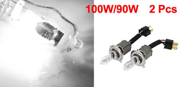 2 Pcs 12V White H4 Halogen Daytime Running Light Foglight Headlamp 100W/90W