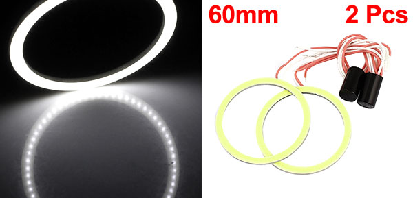 Pair 60mm Dia White COB Angel Eye Ring DRL Headlight Lamp Spare Blub 12V for Auto Car