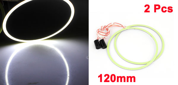 2 Pcs Car 120mm Dia Angel Eyes Ring Headlight Driving Lamp Light Blub White 12V